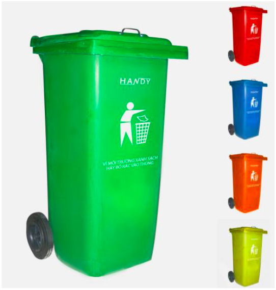 Thùng rác công cộng 120 lít có bánh xe