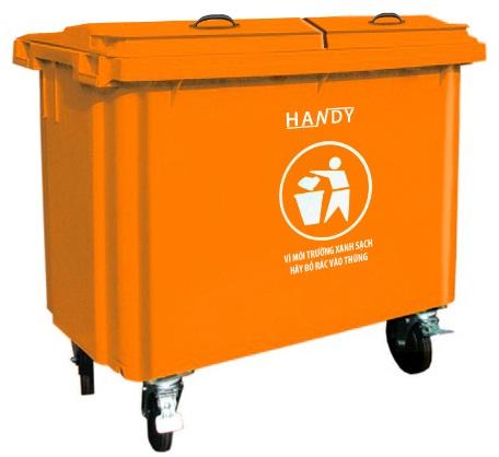 Thùng rác công nghiệp 660 lít (màu cam)