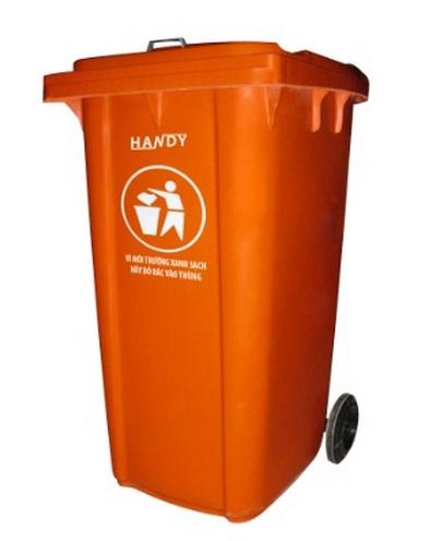 Thùng rác công nghiệp 240 lít màu đỏ