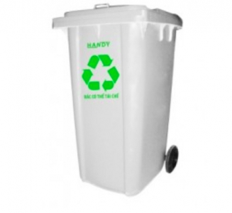 Thùng rác composite màu trắng 240 lít
