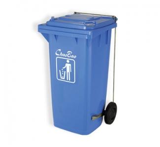 Thùng rác 120L màu xanh dương mở nắp đạp chân B003