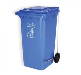 Thùng rác xanh dương 240L đạp chân mở nắp B004A
